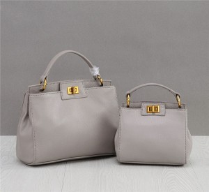 OEM Grey Natural Leather Bags Handbags Fashion Tote Hand Bag
