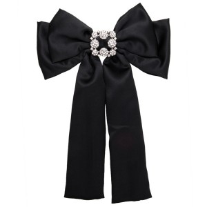 Nice Quality Famous Brand Silk Bow Boutonniere Women Black Multi-Layer Ribbon Corsage Diamond-Studded Brooch