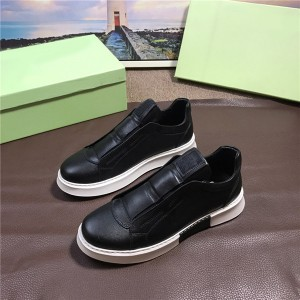 OEM Itlian Leather Sneakers For Men Black Gym Shoes Big Yard Size Size 38 To 46