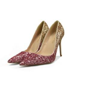 Red-Gold Color Sequins Women'S Plus Size Shoes From Size 32 To Size 46