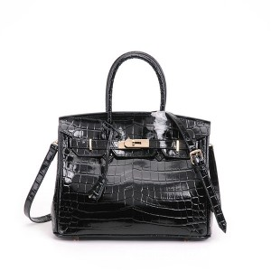 High Quality Black Alligator Cow skin Branded Name Handbags Women Original Leather Tote Bag