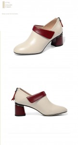 High Quality Cowhide Big Heel Shoes Women