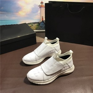 Most Popular Itlian White Sheepkin Leather Sneakers Men Sports Shoes Size 38 To 46