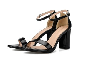 Black Patent Leather High Heel Ladies Sandals Big Heel