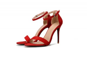 Red Suede Party Sandals For Lady