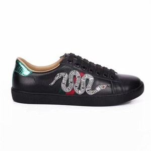 Most Welcome Snake Embroidery Brand Name Sneakers Black Leather