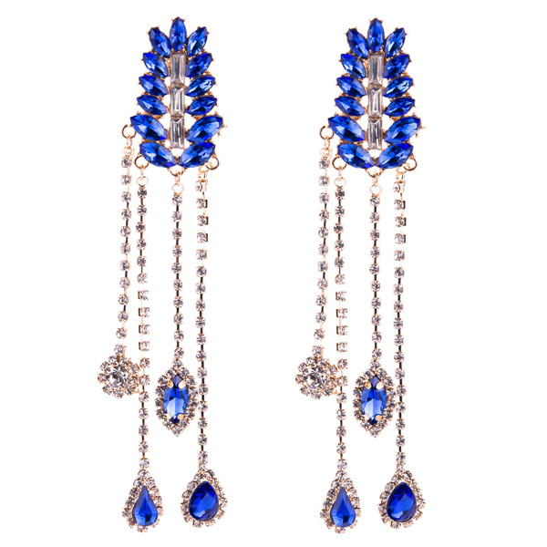 Blue Multi-Layer Glass Rhinestone Earring Women Fashion Long Earring Bohemian Style Earring Featured Image