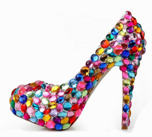 14cm Colored rhinestones sexy platform pumps shoes women