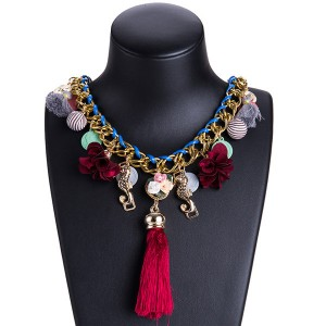 Europe And The United States Brand Tassel Necklace Women Fashion Silk Ribbon Flower Necklace