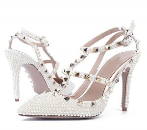 Women Gorgerouse Shoes With White Rhinestone Cr...