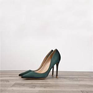 Dark Green Silk Satin Women Heels