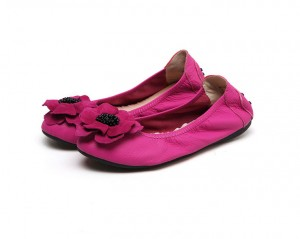 Women Pink Goatskin Big Yard Flat Shoes