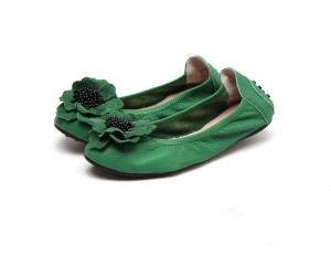 Women Foldable Flat Dance Shoes With Rose Flowe...