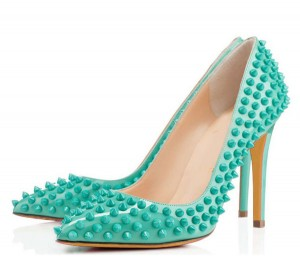 Custom Made 10cm Fine Heel Shoes With Green Rivets