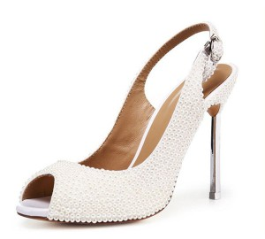 Lady Handmade Goatskin Elegant Shoes With White...
