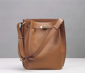 High Quality Designer Bag Tan Leather Bucket Bag