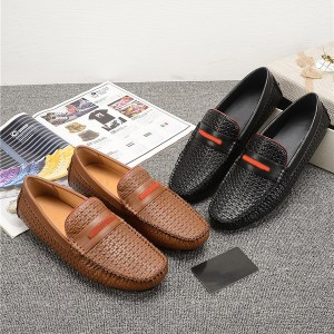 OEM Men Italian tan leather loafers Men Flat Ca...