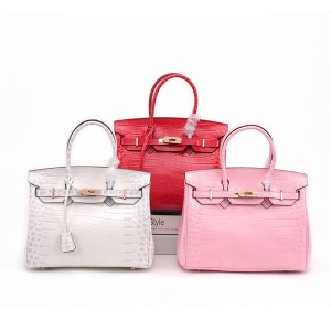 High Quality Tote Bags Women Crocodile Grain Cowhide Birkin Bags With Shoulder Strap