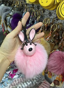 Wholesale Bag Hanging Accessory Fashion Grey Rabbit Fur Bags Accessory