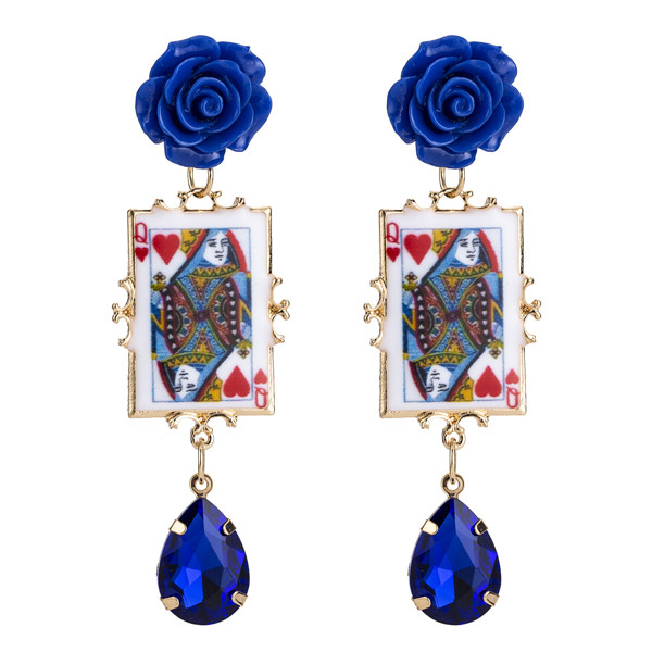 Wholesale Europe And The United States Bohemian Style Blue Resin Flower Women Poker Earrings Red Heart Q Earrings Featured Image