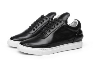 Black Genuine Leather Men Trainers