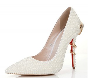 12cm White Rhinestone Gorgerous Lady Pumps Suppliers