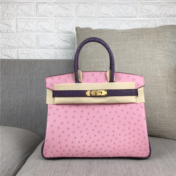 High Quality Fashion Pink Ostrich Leather Tote Bags 30cm 35cm Featured Image