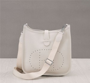 Custom Made Women Branded Bags Handbags Fashion white Litchi Grain Leather Bag With Long Shoulder Strap