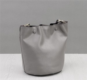 High Quality Ladies Soft Leather Bucket Bag With Colored Shoulder Strap