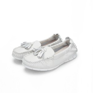 White Slip-Up Flat Loafers Cow Leather Women