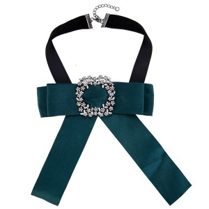 Pretty Green Bow Corsage Beautiful Women Fashion Canves Breastpin Neckwear
