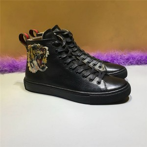 Tiger Embroidery Black Cowhide Ankle Sports Fashion Sneakers