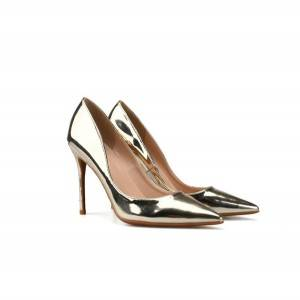 Gold-Plated Patent Leather Pointed Stiletto Evening Dress Shoes