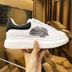 Thick Sole Black Feather Embroidery Women And Men Sneakers