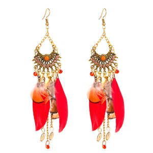 Wholesale Women Bohemian Earrings Red Feather E...