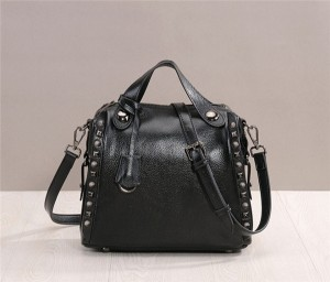 Black Cowhide Leather Satchel Bag For Lady Hand Bags