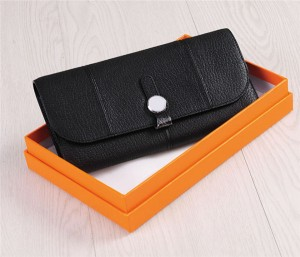 Custom Private Label Wallets Black Leather Wallets Women Clutch Wallets