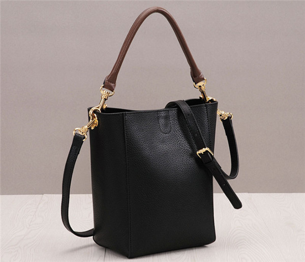 High Quality Black Cowhide Leather Bucket Bag For Woman Shoulder Bag Featured Image