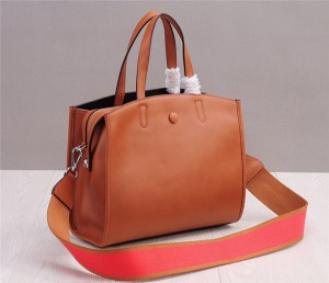 Famous Brand Lady Handbags Brown Leather Satchel Bag