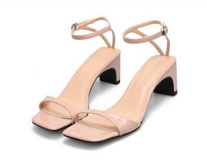 Ladies Nude Low Heel Sandals With Ankle Strap