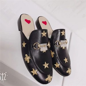 European Half Slippers Men Bee And Star Embroidery Moccasins With Horsebit Buckle Size 35 To 46