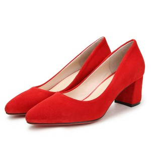 Women Suede Shoes Red Low-Heeled Dress Shoes