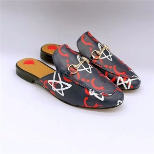 Printed Cowhide Half-Slippers Loafers High Quality Designer Sandals
