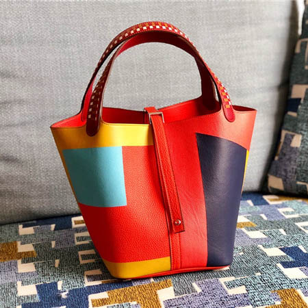 High Quality Mix -color Women Lychee Calfskin Bucket Bag from Bags Factory Featured Image