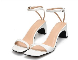 Low Heel White Leather Pretty Sandals With Ankle Strap