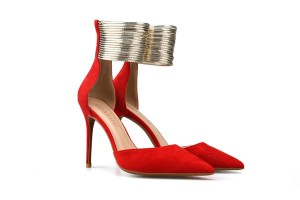 Ladies Red Suede Stiletto Sandals Women Fashion Sandals With Metal Ankle Strap