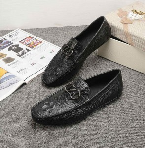 OEM Men Italian Crocodile Pattern Cowhide Loafe...