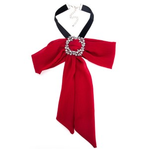 Pretty Red Bow Corsage Alloy Rhinestone Yarn Corsage Bohemian Necklace Ladies Corsage Factory