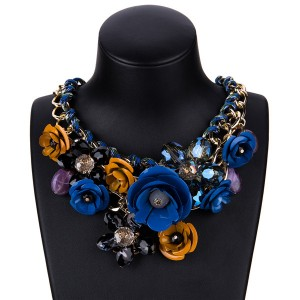 Women Fashion Rose Flower Necklace Beautiful Colorful Flower Necklace Ladies Necklace Factory