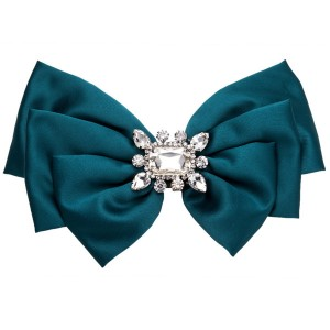 Women Fashion Breastpin Neckwear Green Multi-Layer Ribbon Corsage Diamond-Studded Brooch Students Corsage